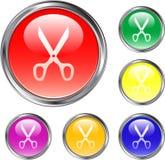 Bouton clair de ciseaux Photos stock