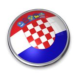 Bouton Croatie de drapeau Photo stock