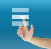 Bouton d'écran tactile de pressurage à la main Image libre de droits