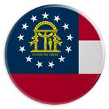 Bouton d'état d'USA : Illustration de Georgia Flag Badge 3d sur le fond blanc illustration libre de droits