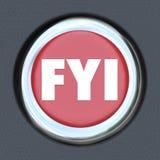 Bouton d'allumage de début de voiture de For Your Information de FYI illustration libre de droits
