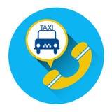 Bouton d'application d'appel téléphonique de voiture d'icône de service de taxi Photo libre de droits