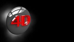 Bouton 4D dans l'illustration 3D Photo libre de droits