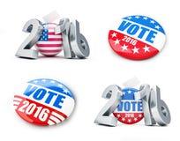Bouton d'insigne d'élection des Etats-Unis de vote pour 2016 Images libres de droits