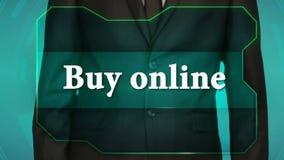 Bouton d'inverse de poussée d'homme d'affaires sur l'écran tactile achat d'inscription en ligne banque de vidéos