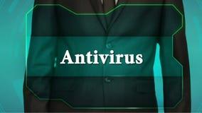 Bouton d'inverse de poussée d'homme d'affaires sur l'écran tactile antivirus d'inscription banque de vidéos