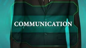 Bouton d'inverse de poussée d'homme d'affaires sur l'écran tactile communication d'inscription, banque de vidéos