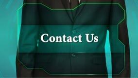 Bouton d'inverse de poussée d'homme d'affaires sur l'écran tactile contactez-nous d'inscription clips vidéos