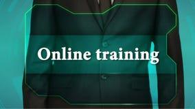 Bouton d'inverse de poussée d'homme d'affaires sur l'écran tactile formation en ligne d'inscription banque de vidéos