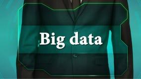 Bouton d'inverse de poussée d'homme d'affaires sur l'écran tactile grandes données d'inscription banque de vidéos