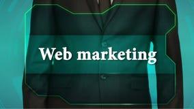 Bouton d'inverse de poussée d'homme d'affaires sur l'écran tactile inscription de vente de Web banque de vidéos