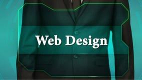 Bouton d'inverse de poussée d'homme d'affaires sur l'écran tactile inscription de web design banque de vidéos