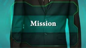 Bouton d'inverse de poussée d'homme d'affaires sur l'écran tactile mission d'inscription banque de vidéos