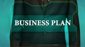 Bouton d'inverse de poussée d'homme d'affaires sur l'écran tactile plan d'action d'inscription banque de vidéos