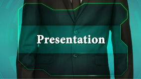 Bouton d'inverse de poussée d'homme d'affaires sur l'écran tactile présentation d'inscription banque de vidéos