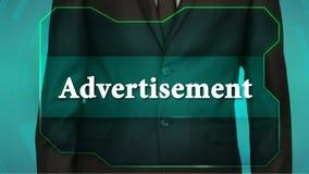 Bouton d'inverse de poussée d'homme d'affaires sur l'écran tactile publicité d'inscription banque de vidéos