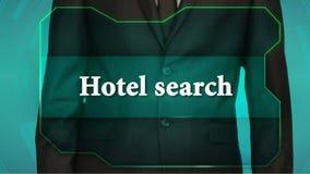 Bouton d'inverse de poussée d'homme d'affaires sur l'écran tactile recherche d'hôtel d'inscription banque de vidéos