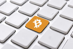 Bouton de Bitcoin Photographie stock
