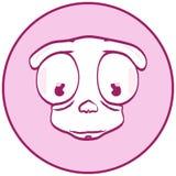 Bouton de cercle de chien de bande dessinée Photos libres de droits