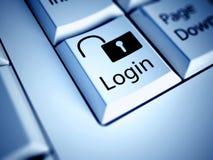 Bouton de clavier et de login, concept d'Internet Image libre de droits