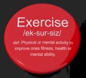 Bouton de définition d'exercice montrant l'activité et le travail de forme physique illustration de vecteur