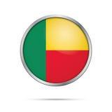 Bouton de drapeau de Beninian de vecteur Drapeau du Bénin dans le style en verre de bouton Photo libre de droits
