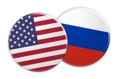 Bouton de drapeau des USA sur le bouton de drapeau de la Russie, illustration 3d sur le fond blanc illustration de vecteur