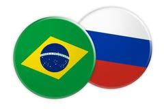 Bouton de drapeau du Brésil sur le bouton de drapeau de la Russie, illustration 3d sur le fond blanc illustration stock