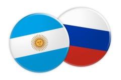 Bouton de drapeau de l'Argentine sur le bouton de drapeau de la Russie, illustration 3d sur le fond blanc illustration de vecteur