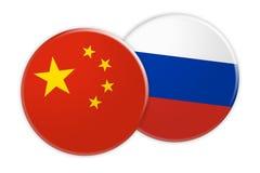 Bouton de drapeau de la Chine sur le bouton de drapeau de la Russie, illustration 3d sur le fond blanc illustration libre de droits