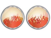 Bouton de flammes illustration de vecteur