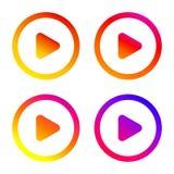 Bouton de jeu Icône plate de gradient Signe d'isolement pour le Web Ensemble de vecteur Photographie stock