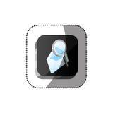 bouton de la place 3d de couleur d'autocollant avec la loupe et les enveloppes Photos libres de droits