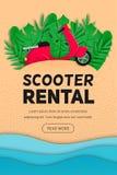 Bouton de location de bannière de vecteur de scooter illustration de vecteur
