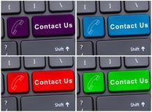 Bouton de message de contactez-nous avec l'icône de téléphone portable Photos libres de droits