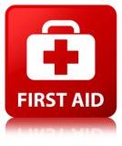Bouton de place rouge de premiers secours Image libre de droits