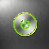 Bouton de pouvoir vert sur le panneau avant de l'ordinateur Image libre de droits