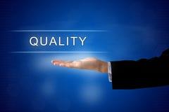 Bouton de qualité sur l'écran virtuel Image stock