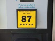 Bouton de sélection d'octane de la pompe à gaz 87 Photos stock