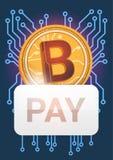 Bouton de salaire au-dessus de concept moderne d'argent de Web de Bitcoin d'icône devise d'or de Digital de crypto Image stock