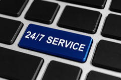24/7 bouton de service sur le clavier Photo stock