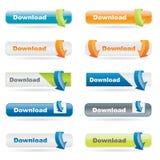 Bouton de téléchargement réglé avec des flèches Photographie stock