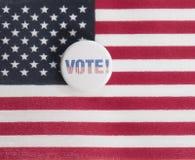 Bouton de vote sur le drapeau Photographie stock libre de droits