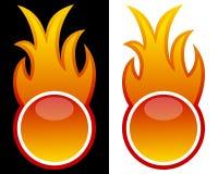 Bouton de Web avec la flamme Images stock