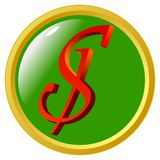 Bouton du dollar Images stock