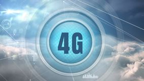 bouton du logo 4g entouré par des connesctions de données illustration libre de droits