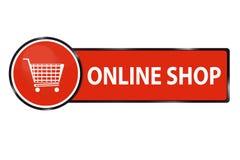 Bouton en ligne de Web de boutique avec le caddie Photos libres de droits