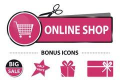 Bouton en ligne de Web de boutique avec les icônes de caddie et de bonification - illustration d'autocollant de vecteur avec la l Photo libre de droits