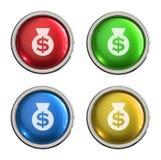 Bouton en verre d'icône d'argent illustration libre de droits