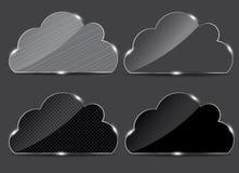 Bouton en verre de vecteur avec le graphisme de nuage Photos libres de droits